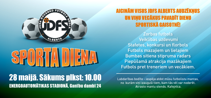JDFS Alberts sporta diena 28.maijā!